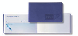 landscape style autograph book with periwinkle faux leather cover