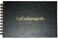 Black Leatherette Wire-O Autograph Book with Gold Foil Stamp