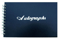 Navy Blue Leatherette Wire-O Autograph Book with Silver Foil Stamp