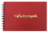 Red Leatherette Wire-O Autography Book with Gold Foil Stamp