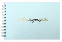 White Leatherette Wire-O Autograph Book with Gold Foil Stamp